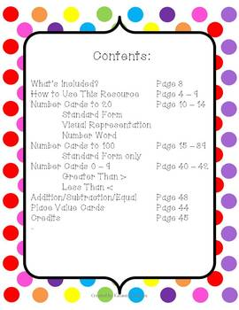 Polka Dot Themed Number Cards to 100