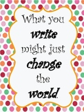 Polka Dot Themed Reading & Writing Posters