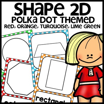 Polka Dot Themed Shape Posters (colors: turquoise, green, red, orange)