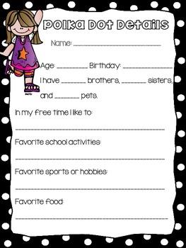 Polka Dot Themed Student Profile