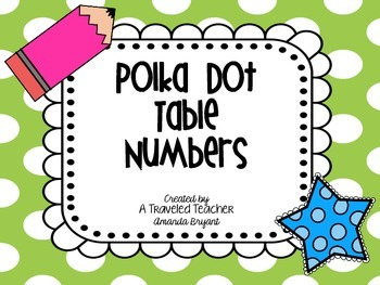 Polka Dot Themed Table Numbers