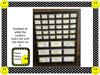 Toolbox Labels ~ Polka Dot Print B/W with Happy Faces (Font~Editable)