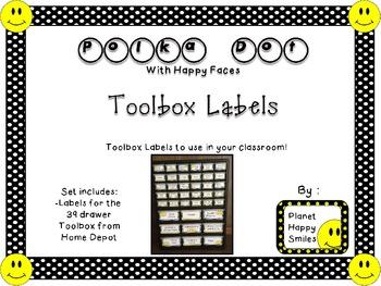Toolbox Labels ~ Polka Dot Print B/W with Happy Faces (Fon