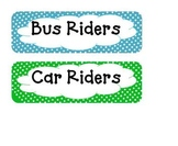 Polka Dot Transportation Chart (Bus Riders, Car Riders, and Day Care)