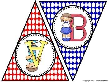 Polka Dot Uppercase Alphabet Pennant Banner