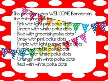 "Polka Dot ""WELCOME"" Pennant Banner"