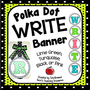 Polka Dot WRITE Banner - Lime Green, Turquoise, Black, and Pink