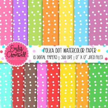 Polka Dot Watercolor Digital Paper Set