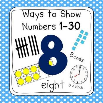 Polka Dot 0-30 Number Posters (Ten Frames, Tallies, Base Ten)