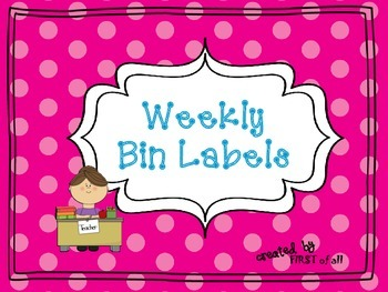 Polka Dot Weekly Bin Labels