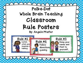 Polka Dot Whole Brain Classroom Rules Posters (Adapted)....Freebie