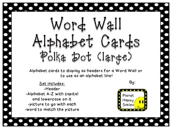 Word Wall Alphabet Cards (large) ~ Polka Dot Print B/W