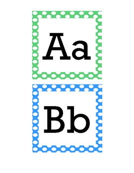 Polka Dot Word Wall Alphabet Headers