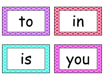 Fry's Word List Word Wall Cards in Polka Dots {editable} {first 200 words}