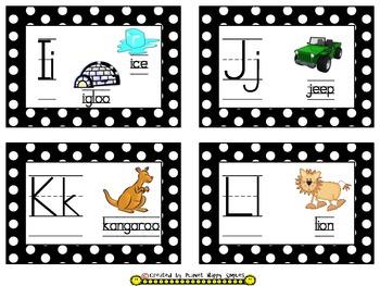 Word Wall Alphabet Cards ~ Polka Dot Print B/W