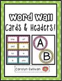 Polka Dot Word Wall Cards and Headers