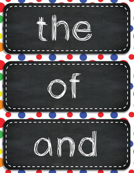 Polka Dot Word Wall Cards and Headers