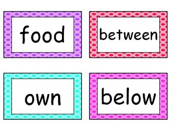 Fry's Word List Word Wall Cards in Polka Dots {editable} {second 200 words}