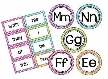 Polka Dot Word Wall Cards (set 2) - High Frequency Words - Editable Card