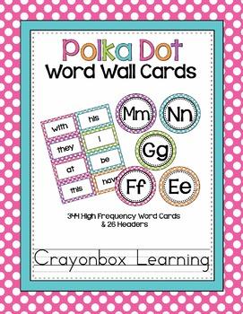 Polka Dot Word Wall Cards (set 2) - High Frequency Words - Editable Card