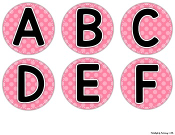 Polka Dot Word Wall LETTERS - 6 Color Choices!