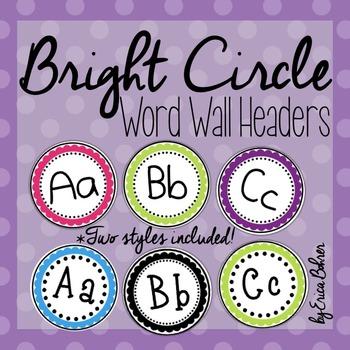 Bright Circle Frame Word Wall Headers