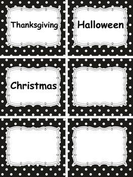 Polka Dot Word Wall Labels Grade 2