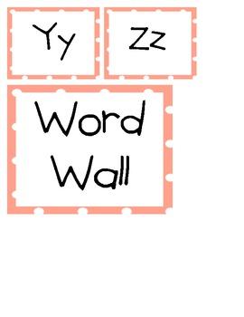 Polka Dot Word Wall Labels-Kid Print