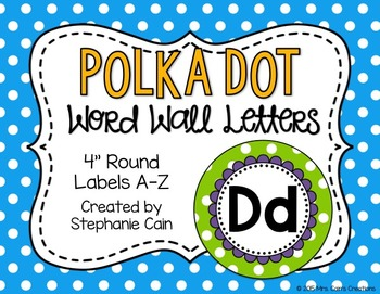 Polka Dot Word Wall Letters w/ Editable Banner