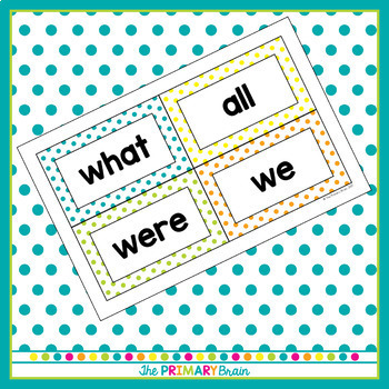 Bright Polka Dot Word Wall Word Cards - Fry Word Aligned