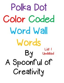 Polka Dot Word Wall Words List 1