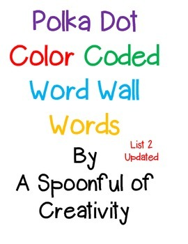 Polka Dot Word Wall Words List 2