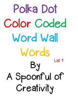 Polka Dot Word Wall Words List 4
