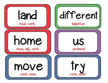 Polka Dot Word Wall Words List 6