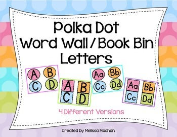 Polka Dot Word Wall/Book Bin Letters