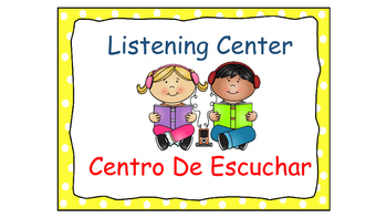 Polka Dot (Yellow) Bilingual Learning Centers Signs