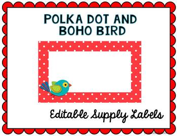 Polka Dot and Boho Bird Classroom Labels