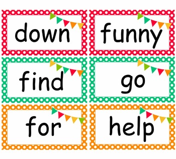 Polka Dot and Bunting Pre-Primer and Primer Word Wall Cards 2