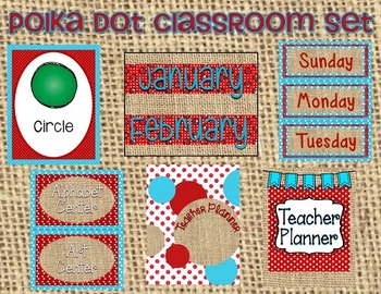 Polka Dot and Burlap Classroom Set- Red and Aqua