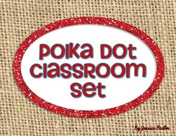 Polka Dot and Burlap Classroom Set- Red and Aqua