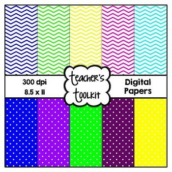 Polka Dot and Chevron Digital Background Papers {8.5 x 11} CU OK