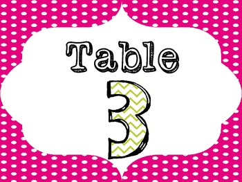 Polka Dot and Chevron Table Numbers