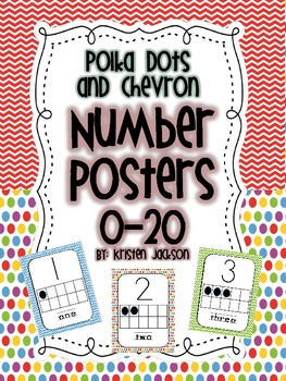 Polka Dot and Chevron Theme Number Posters