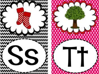 Polka Dot and Chevron Word Wall Words and Headers