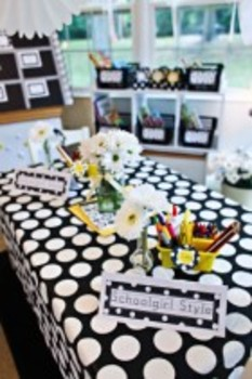 Classroom Decor Polka Dot and Daisy Book Basket Labels