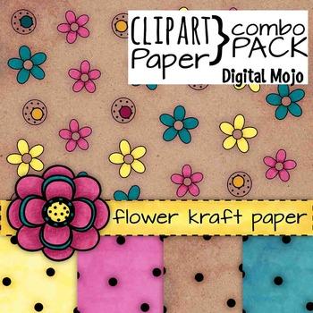 Polka Dot and Flower Kraft Digital Paper