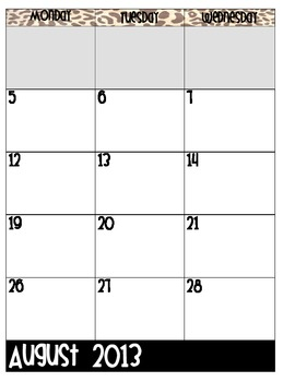 Polka Dot and Leopard Print 2013-2014 Academic Calendar/Planner Pages