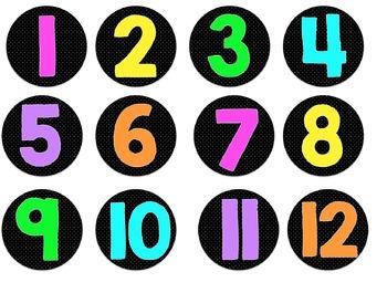Polka Dot and Neon Numbered Circle Labels