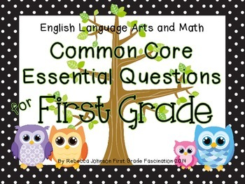 Polka Dot and Owl ELA and Math Common Core Essential Questions for First Grade