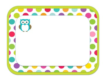 Polka Dot and Owl Label Template